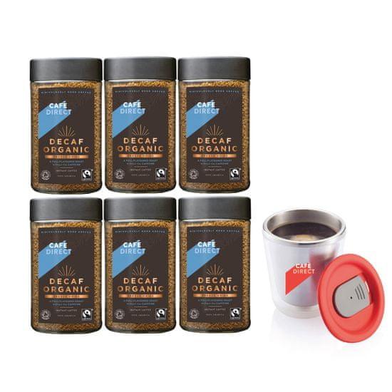 Cafédirect 6x BIO instantná káva bez kofeínu 100 g + nerezový hrnček 200 ml