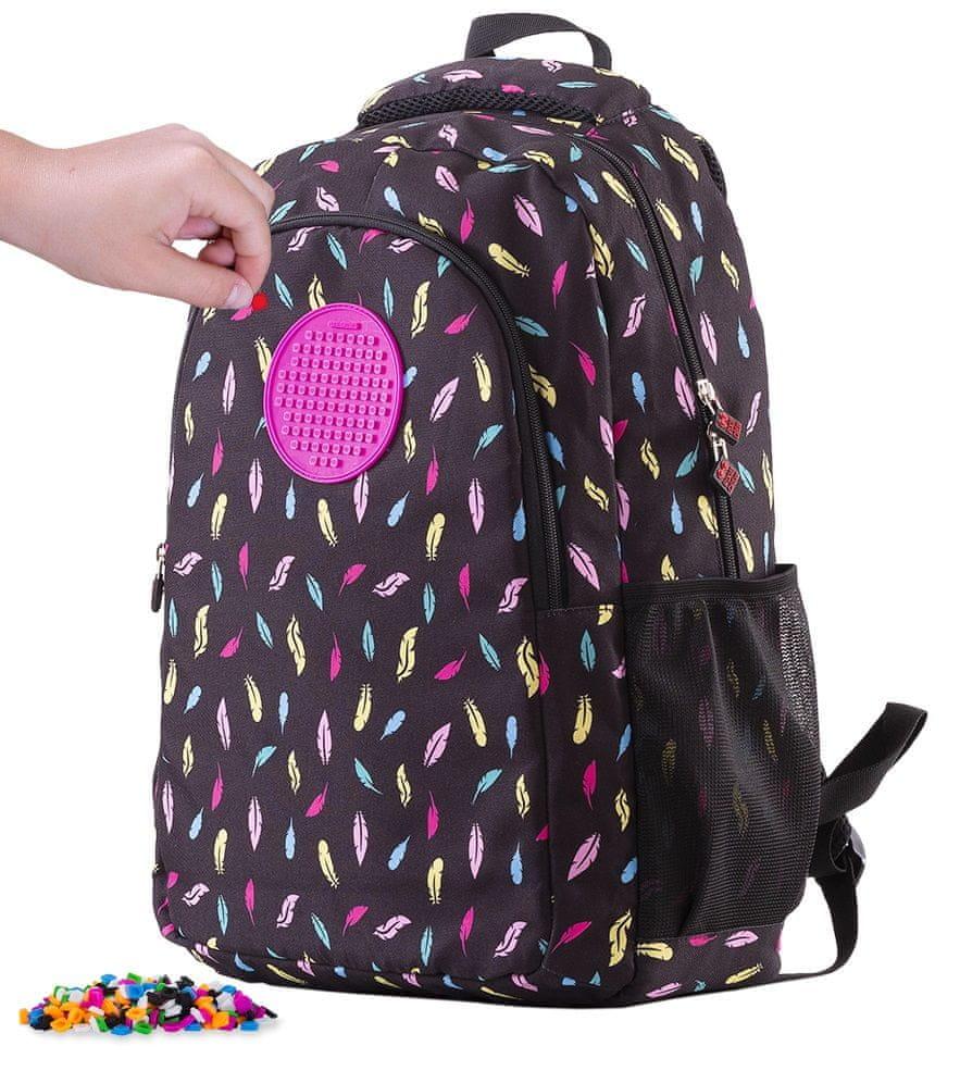 Pixie Crew Kreativní studentský batoh - peří