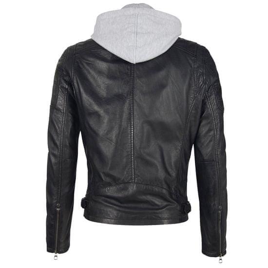 Gipsy Černá kožená pánská bunda s kapucí RYLO