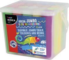 Kidea Chodníkové křídy barevné a neonové JUMBO v kyblíku 20ks