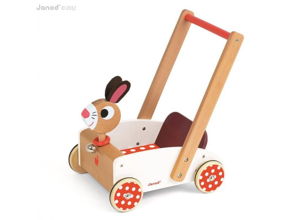 Janod Dřevěný vozík se zajíčkem chodítko