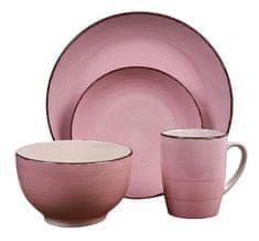 EXCELLENT Jídelní sada talířů VALENCIA kamenina 16 ks růžová