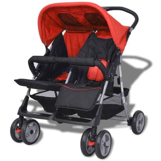 shumee Dvojni otroški voziček jeklo rdeč in črn
