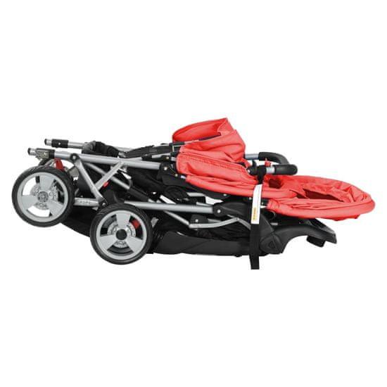 shumee Dvojni otroški voziček jeklen rdeče in črne barve