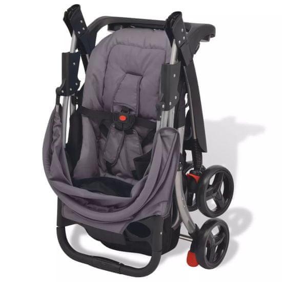 shumee Otroški voziček siv 102x52x100 cm