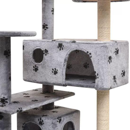 shumee Mačje drevo s praskalniki iz sisala 125 cm s tačkami sive barve