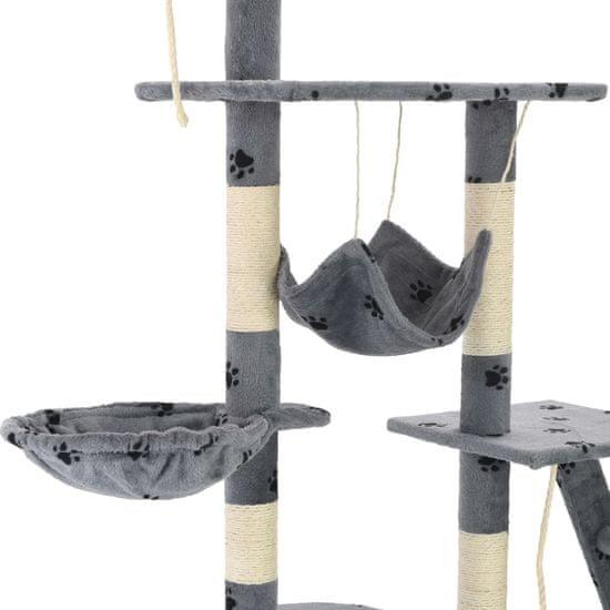shumee Mačje drevo s praskalniki iz sisala 230-250 cm sivo s tačkami