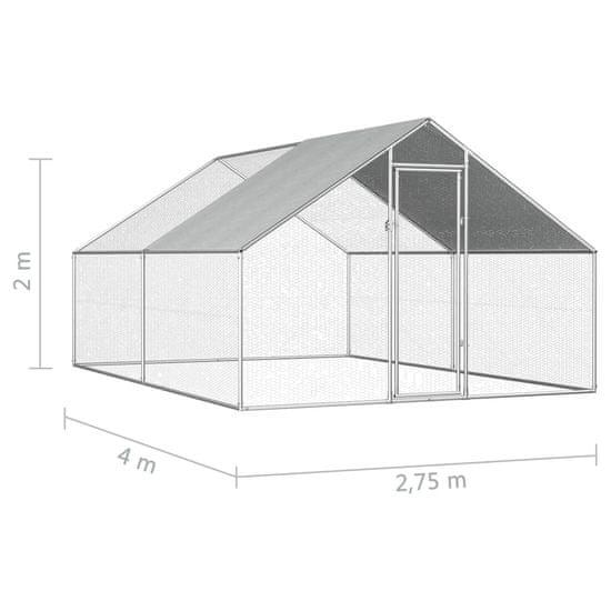 shumee Zunanji kokošnjak 2,75x4x1,92 m pocinkano jeklo
