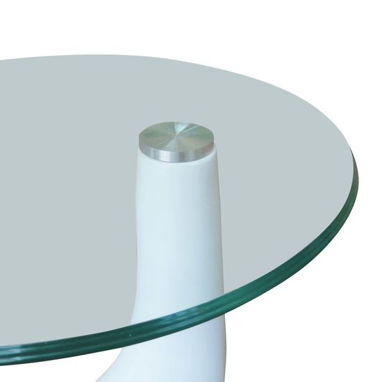 shumee Klubska mizica 2 kosa z okroglim steklom visok sijaj bela