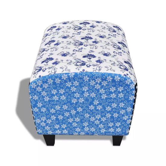 shumee Vidéki stílusú virágos kék / fehér patchwork lábzsámoly