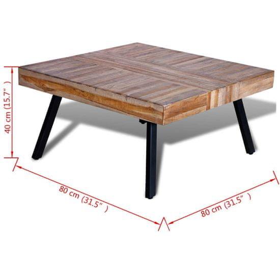 shumee négyzet alakú újrahasznosított tíkfa dohányzóasztal