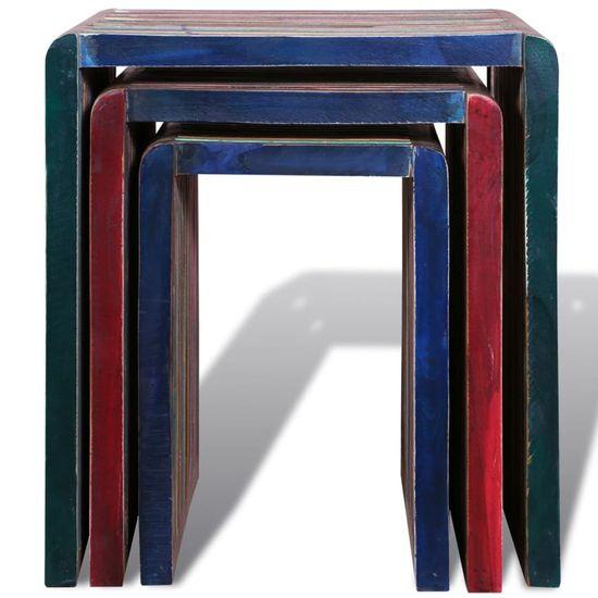 Petromila Stohovateľné stolíky, 3 kusy, farebné, recyklované tíkové drevo