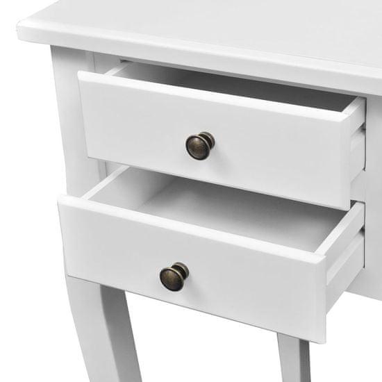 slomart Lesena francoska pisalna miza z zaobljenimi nogami in 5 predali