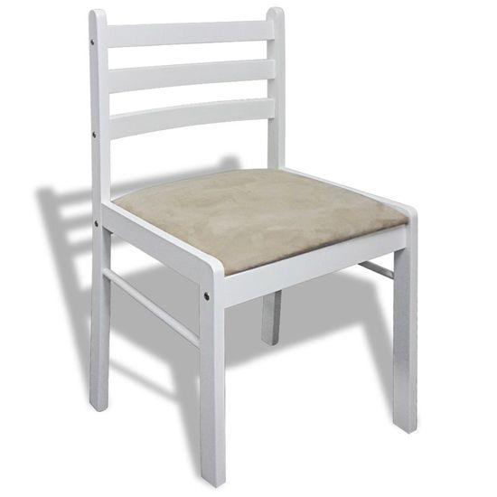 shumee Jedilni stoli 6 kosov beli trden les in žamet