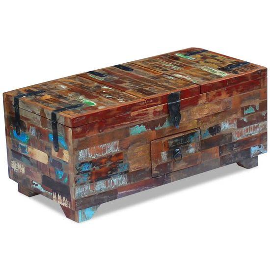 shumee Klubska mizica skrinja trden predelan les 80x40x35