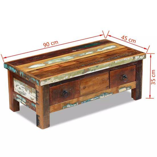 shumee Klubska mizica s predali trden predelan les 90x45x35 cm