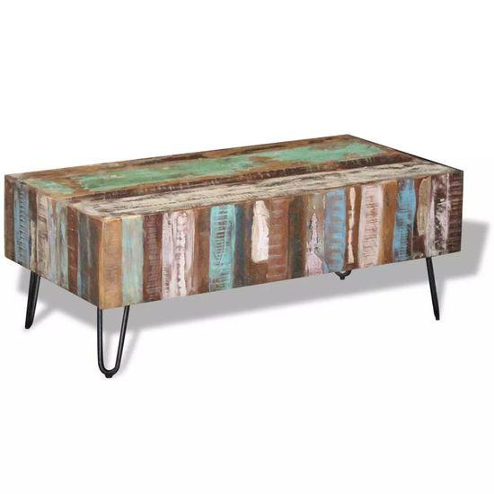 shumee Klubska mizica iz trdnega predelanega lesa 100x50x38 cm