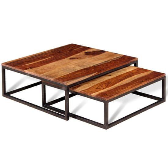 shumee 2-dielna sada stohovacích konferenčných stolíkov, sheeshamové drevo