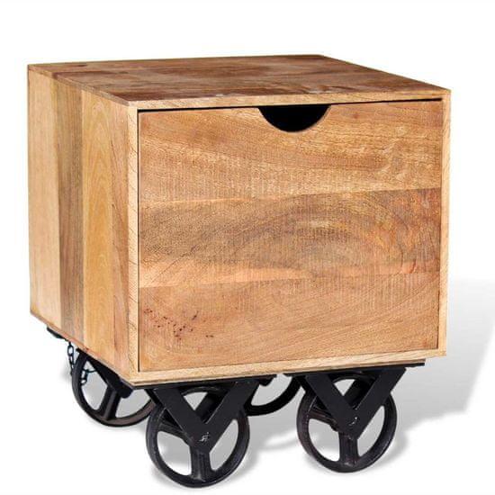 shumee Bočný stolík so zásuvkou a kolieskami, mangovníkové drevo, 40x40x45cm