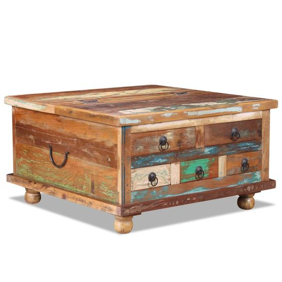 shumee Konferenčný stolík, recyklované drevo 70x70x38 cm