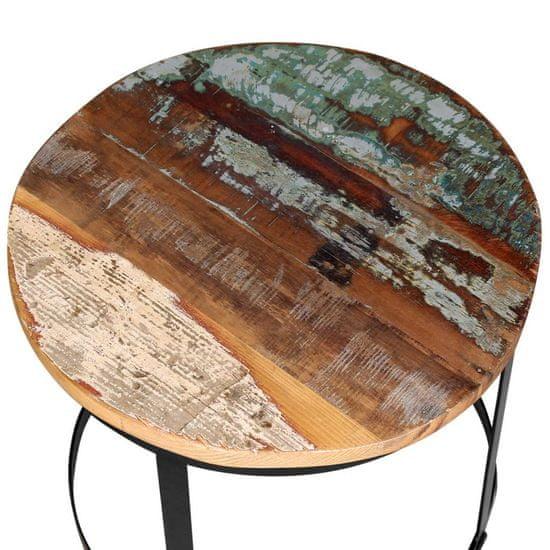 shumee Konferenčné stolíky 2 ks, recyklovaný masív, okrúhle 40cm/50cm