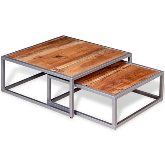 shumee Dvodelni komplet klubskih mizic iz masivnega akacijevega lesa