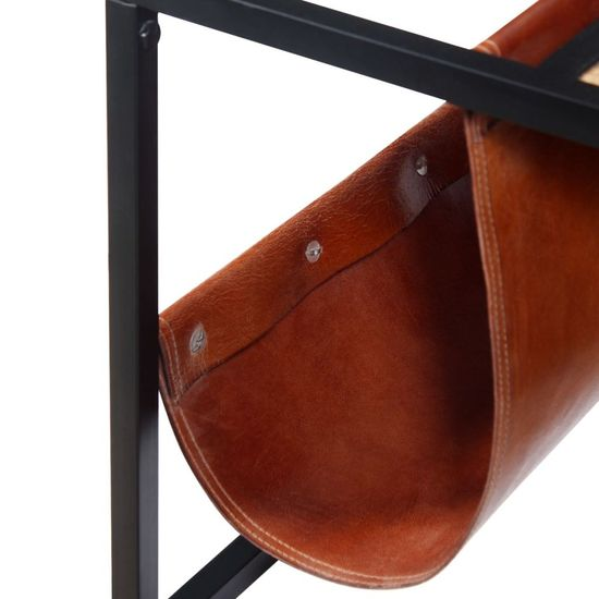 shumee Klubska mizica z držalom za revije iz pravega usnja 110x50x45cm
