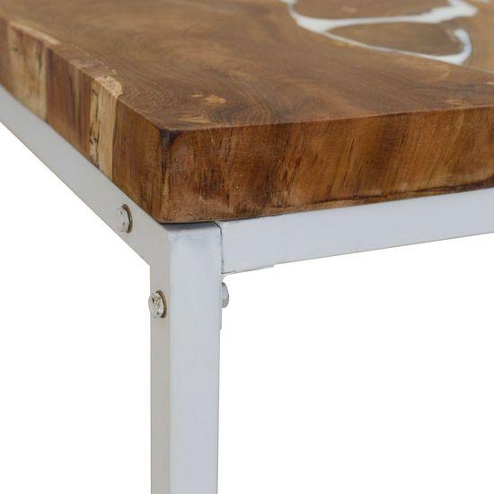 shumee Klubska mizica iz tikovine in smole 60x60x40 cm