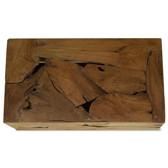 shumee Klubska mizica 90x50x35 cm prava tikovina rjave barve