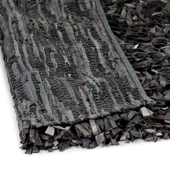 shumee Košata preproga iz pravega usnja 160x230 cm siva