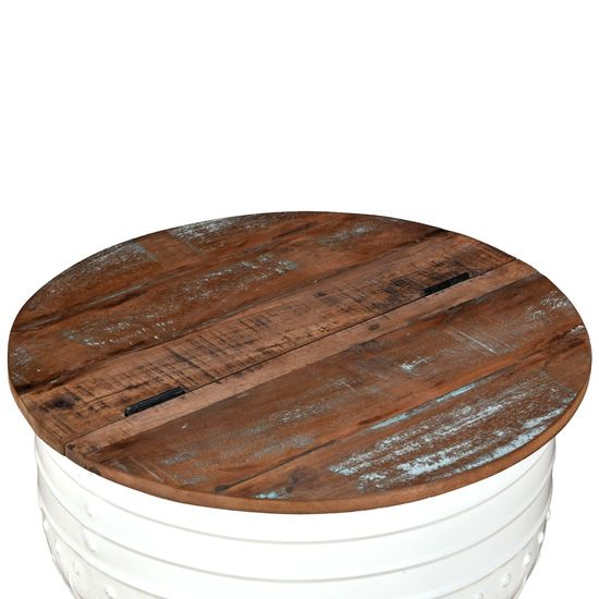 Greatstore Klubska mizica iz trdnega predelanega lesa bela oblika soda