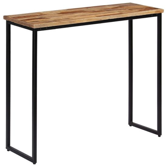 Greatstore Konzolna mizica iz trdne predelane tikovine 90x30x76 cm