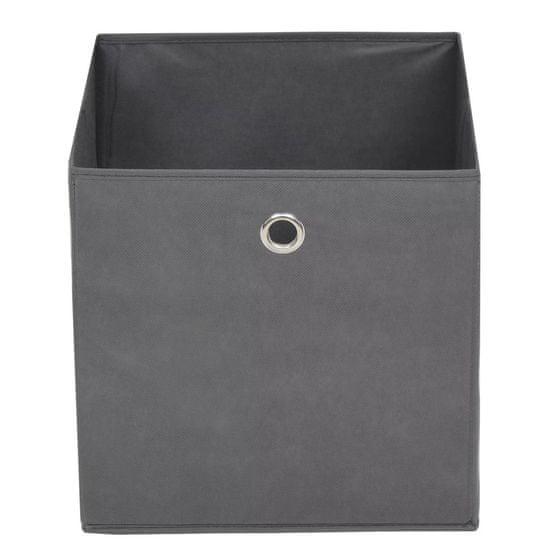 Greatstore Úložné boxy, 4 ks, netkaná textília, 32x32x32 cm, sivé