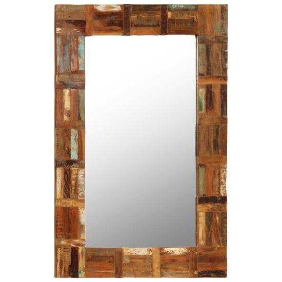 shumee Stensko ogledalo iz trdnega predelanega lesa 60x90 cm