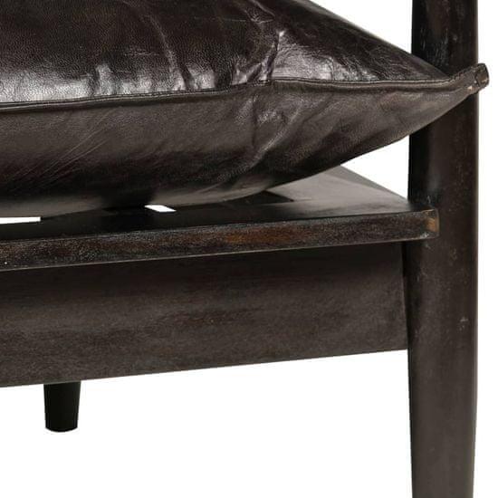 shumee Kavč dvosed iz pravega usnja in akacijevega lesa črne barve