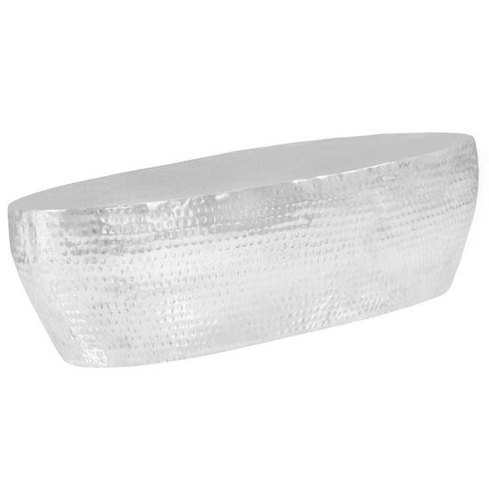 shumee Stolik do kawy z młotkowanego aluminium, 100x50x28 cm, srebrny