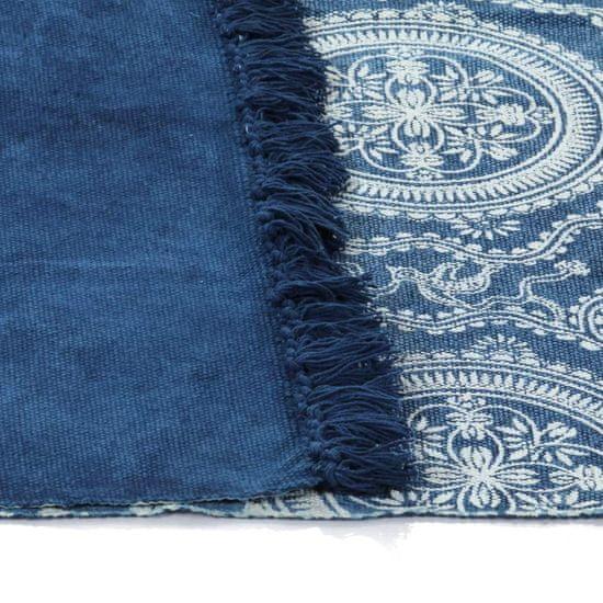 shumee Preproga Kilim Bombaž 160x130 cm modro z vzorcem