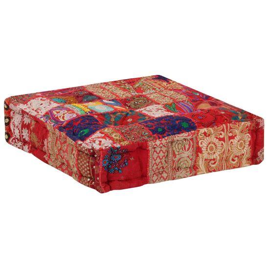shumee kézzel készült piros pamut patchwork kocka puff 50x50x12 cm