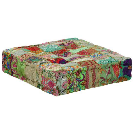 shumee kézzel készült zöld pamut patchwork ülőpárna 50x50x12 cm