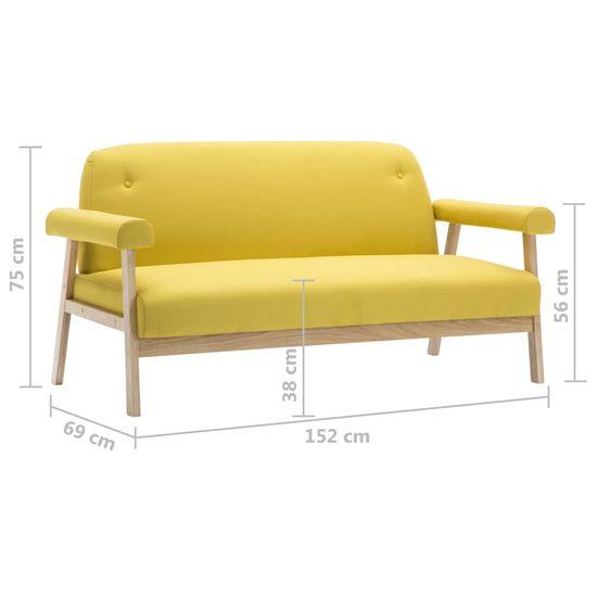 shumee 3-sedežni kavč vidaXL, oblazinjen iz rumene tkanine