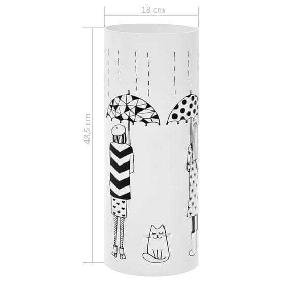 shumee Stojalo za dežnike z ženskim motivom iz jekla bele barve