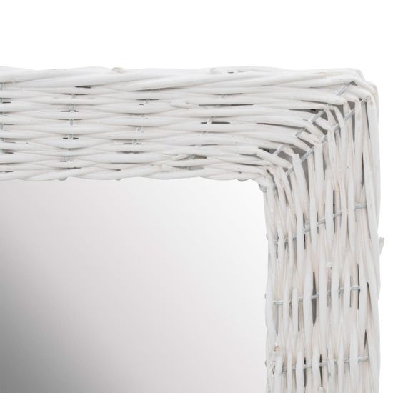 shumee Ogledalo s pletenim okvirjem bele barve 60x80 cm