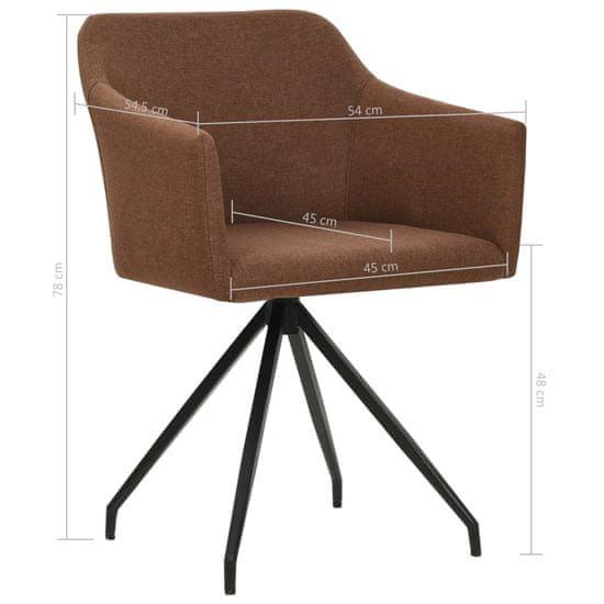 shumee Vrtljivi jedilni stoli 2 kosa rjavo blago