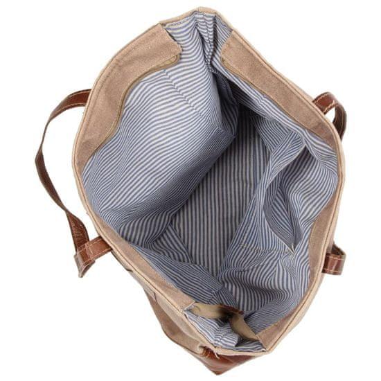 shumee nakupovalna torba rjava 48x61 cm platno in pravo usnje
