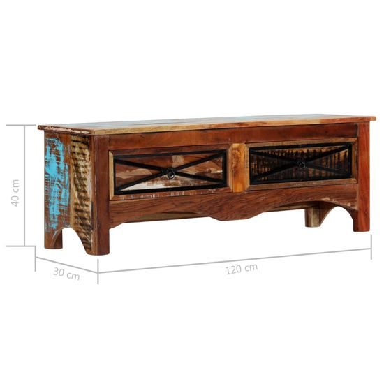 shumee Szafka pod TV, 120 x 30 x 40 cm, lite drewno odzyskane
