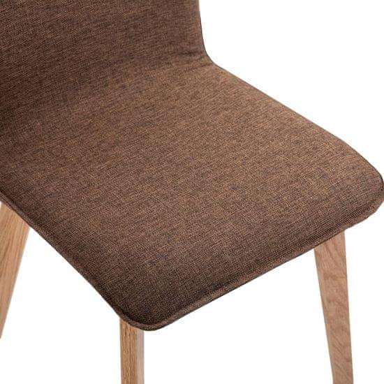 shumee Krzesła do jadalni, 4 szt., brązowe, tkanina i lity dąb