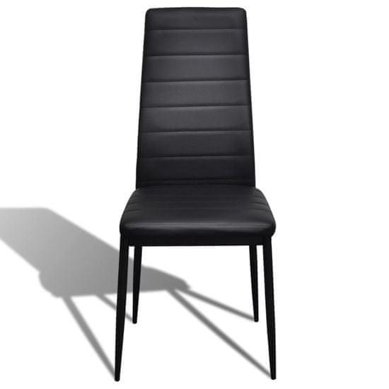 shumee 4 wysokie czarne krzesła do jadalni + stół ze szklanym blatem