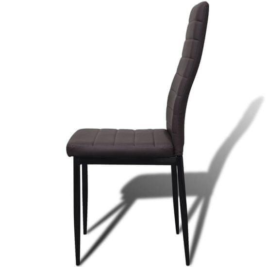 shumee Jedilni set 4 rjavi stoli z ravnimi linijami in stekleno mizo