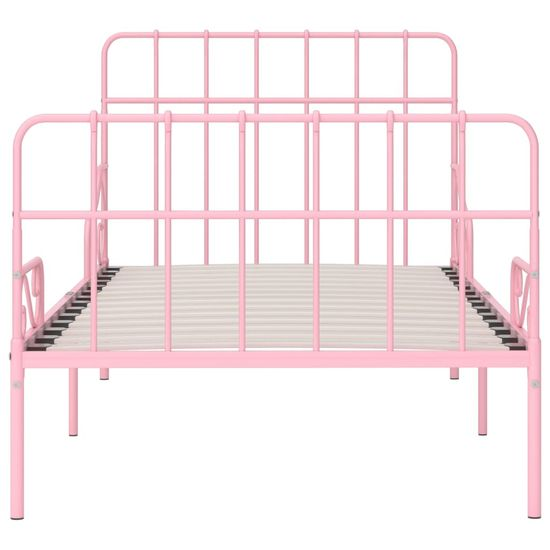 shumee rózsaszín fém ágykeret lécezett ágyráccsal 100 x 200 cm