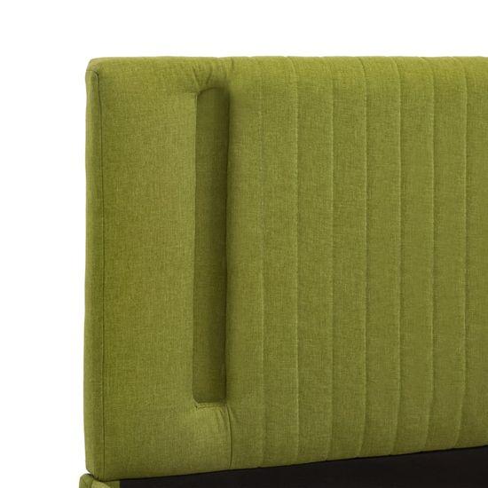 shumee Posteljni okvir z LED osvetlitvijo zeleno blago 140x200 cm